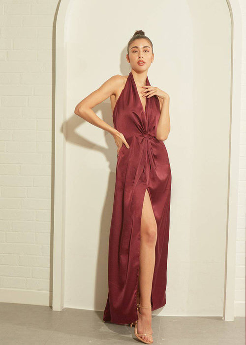MIDNIGHT DRESS - BURGUNDY RED-Dress-MISS MODERN Boutique-XS-BURGUNDY RED-MISS MODERN