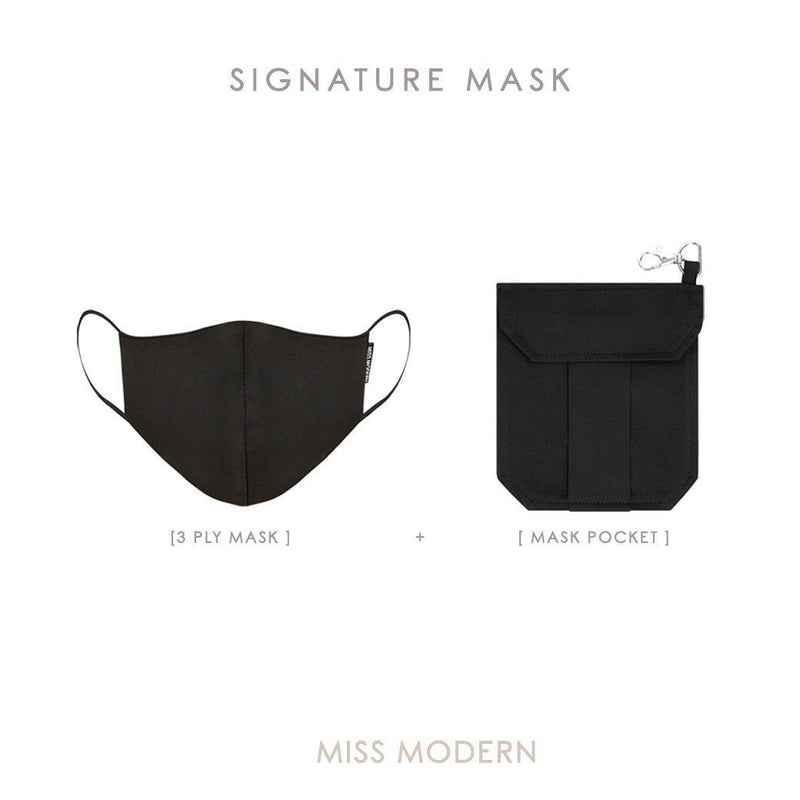 Signature Silk Mask - Black-mask-MISS MODERN-Mask + Mask Keeper-MISS MODERN