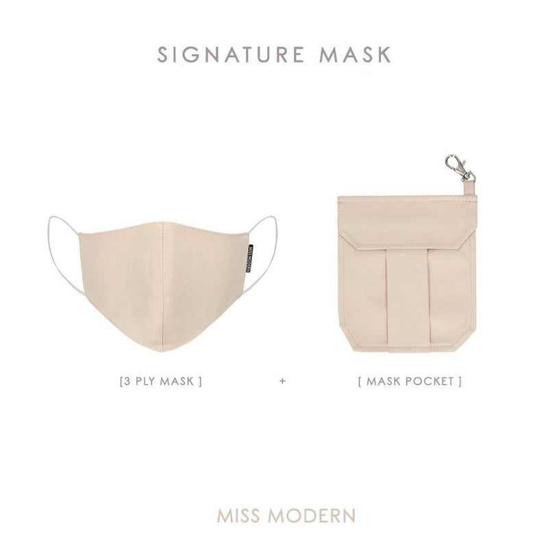 Signature Silk Mask & Mask Pocket-mask-MISS MODERN-CHAMPAGNE-MISS MODERN