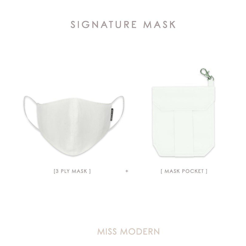 Signature Silk Mask & Mask Pocket-mask-MISS MODERN-WHITE-MISS MODERN
