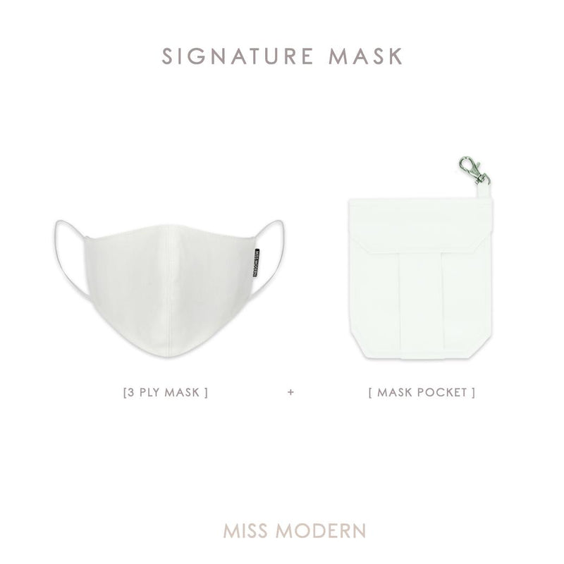 Signature Silk Mask - White-mask-MISS MODERN-Mask + Mask Keeper-MISS MODERN