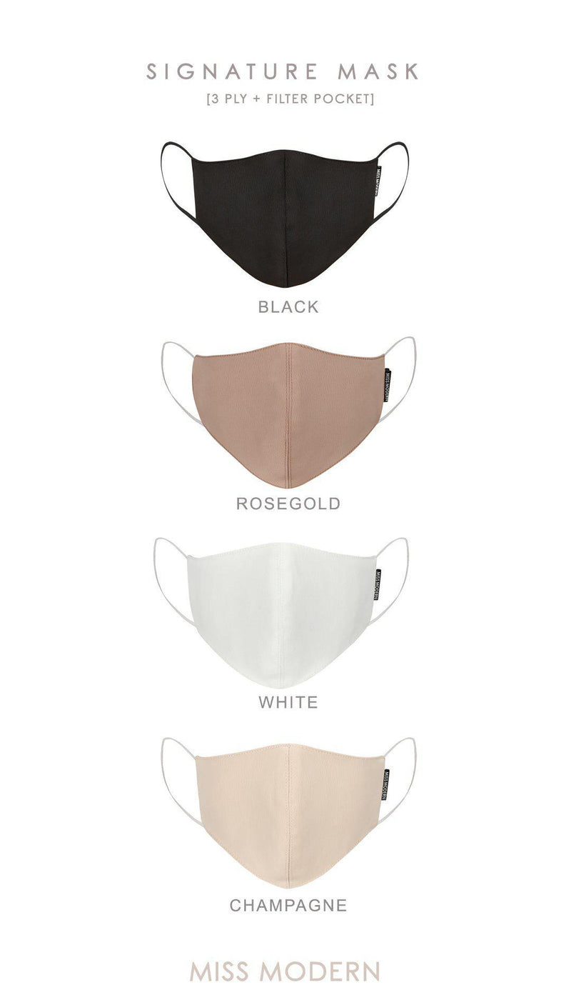 Signature Silk Mask - White | PRE-ORDER ready to ship 6 Oct-mask-MISS MODERN-MISS MODERN
