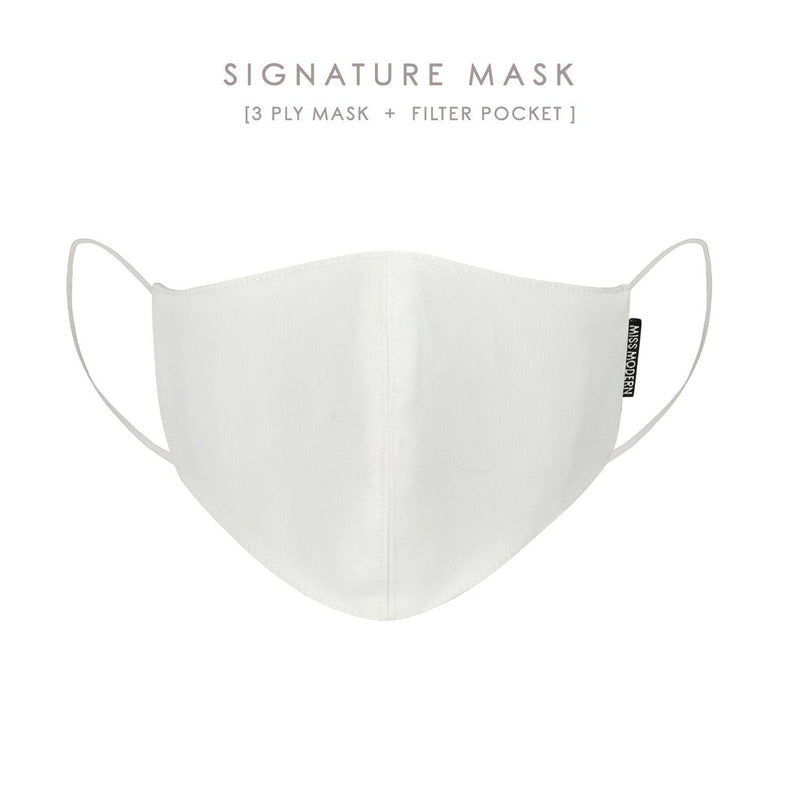 Signature Silk Mask - White | PRE-ORDER ready to ship 6 Oct-mask-MISS MODERN-Mask-MISS MODERN