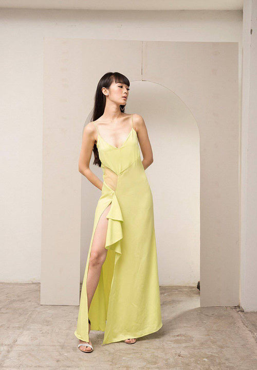 Walk on dress - Neon lime-twist-Dress-MISS MODERN-XS-Lemon-Lime twist-MISS MODERN