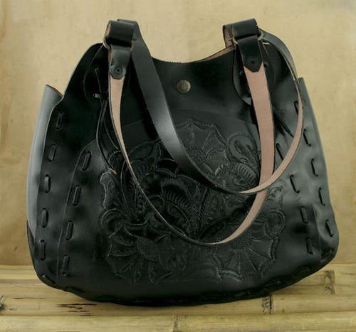 Black Leather Embossed Bag-Fashion Accessories-Be Well With Nikki
