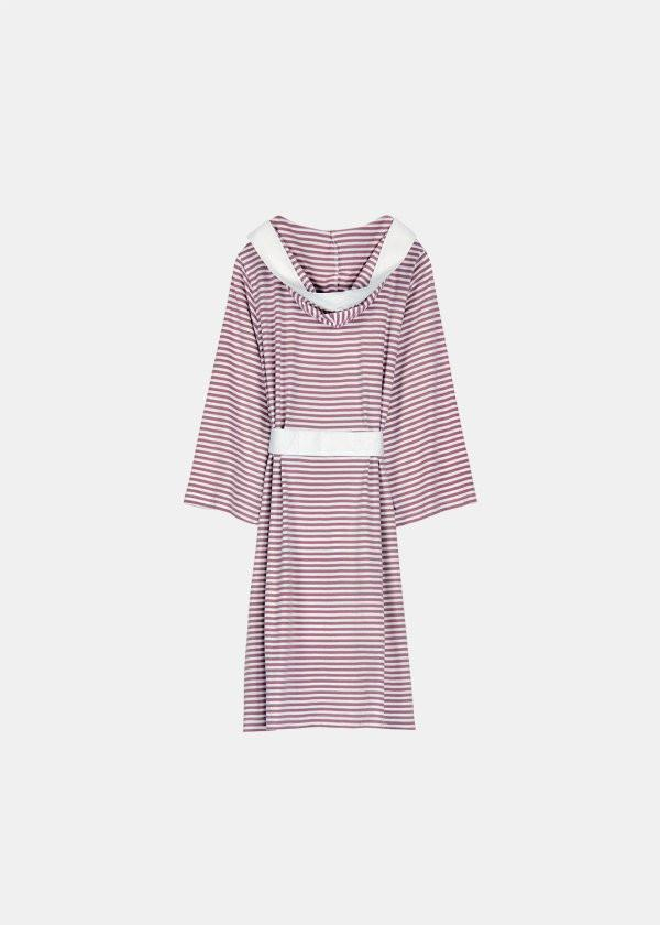 Pure Fiber Knee Length Striped Jersey Knit Robe-Robes-Be Well With Nikki