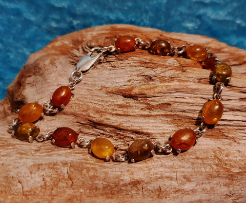 Vintage 925 Solid Sterling Silver & Baltic Amber Cabochon Chain Bracelet