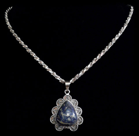 Vintage Blue Agate Cabochon Chunky Necklace in 800/925 Solid Sterling Silver - Preloved Jewels