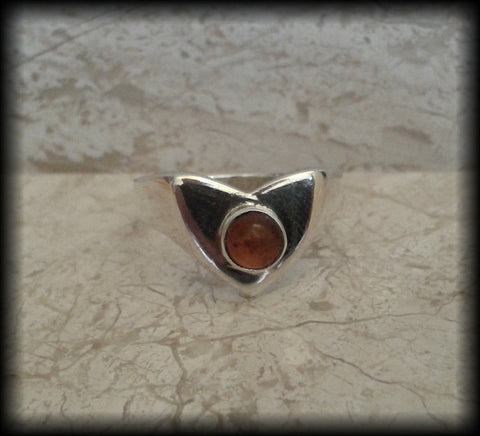 Vintage Baltic Amber Cabochon 925 Sterling Silver Ring - Preloved Jewels