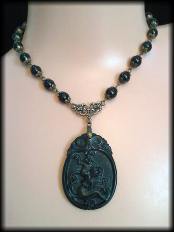 Handmade Vintage Victorian Style Carved Black Jade & Glass Bead Mourning Necklace - Preloved Jewels