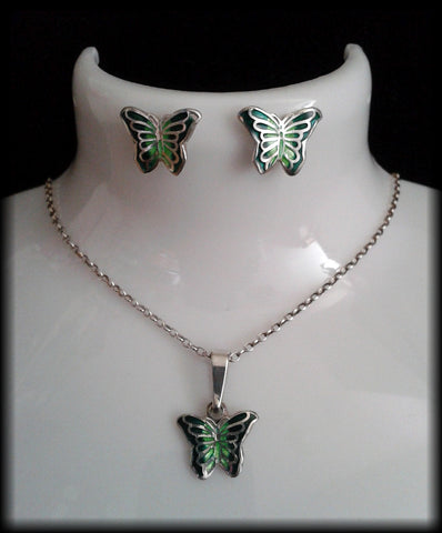 Vintage 925 Sterling Silver Enamelled Butterfly Pendant Necklace & Earrings Set - Preloved Jewels