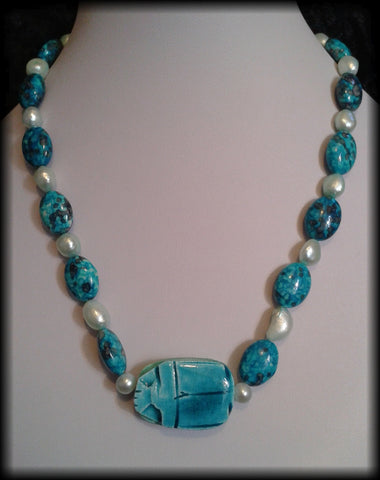 Handmade Vintage Style Egyptian Faience Scarab Beetle Agate & Pearl Beaded Necklace - Preloved Jewels