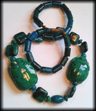 Handmade Vintage Style Egyptian Faience Scarab Beetle Azurite Chrysocolla Beaded Necklace - Preloved Jewels