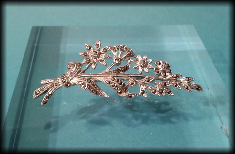 Vintage 1950's Marcasite Studded Flower Brooch - Preloved Jewels