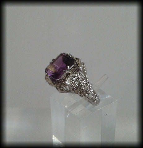 Vintage Rhodium Plated 925 Solid Sterling Silver Faceted Amethyst Ring - Preloved Jewels