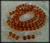 Vintage 925 Solid Silver and Faceted Amber Glass Long Beaded Necklace & Earrings Set - Preloved Jewels