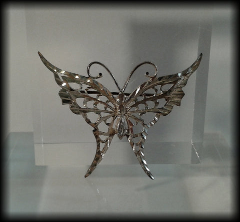Vintage 925 Solid Sterling Silver Butterfly Brooch - Preloved Jewels