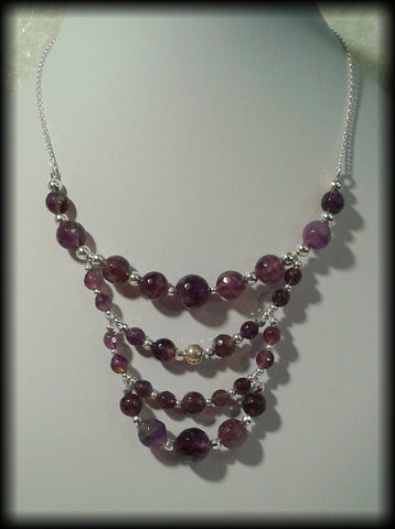 Vintage 925 Solid Sterling Silver and Faceted Amethyst Bead Chunky Necklace - Preloved Jewels
