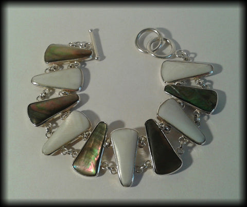 Vintage 925 Solid Sterling Silver Abalone Shell & Mother of Pearl Panel Bracelet - Preloved Jewels
