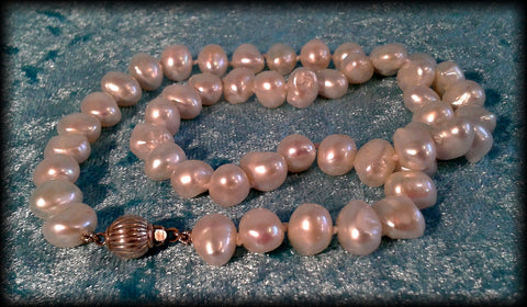 Classic Genuine Baroque South Sea Pearl Beaded Necklace with Silver Clasp - Preloved Jewels