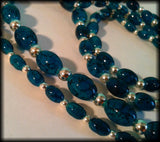 Vintage 925 Solid Silver Bead & Blue Marbled Glass Bead Long Flapper Necklace - Preloved Jewels