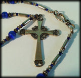 Vintage 925 Solid Sterling Silver & Blue Cat's Eye Beaded Cross Necklace - Preloved Jewels