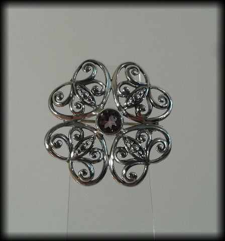 Vintage 925 Solid Sterling Silver and Faceted Amethyst Flower Brooch - Preloved Jewels