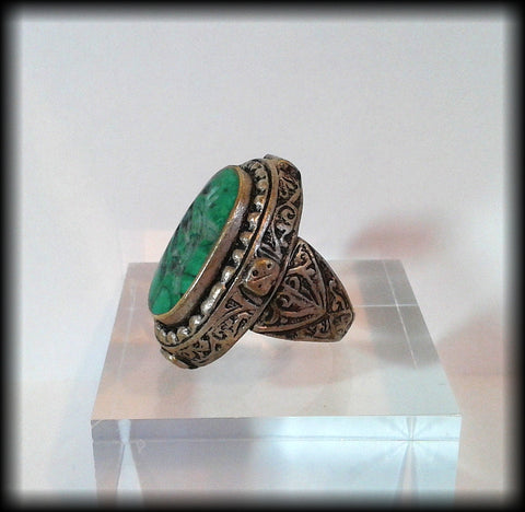 Antique Chunky Near Eastern Carved Green Turquoise Tughra Animal Intaglio Seal Ring - Preloved Jewels