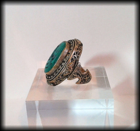 Antique Chunky Near Eastern Carved Green Turquoise Tughra Antelope Intaglio Seal Ring - Preloved Jewels