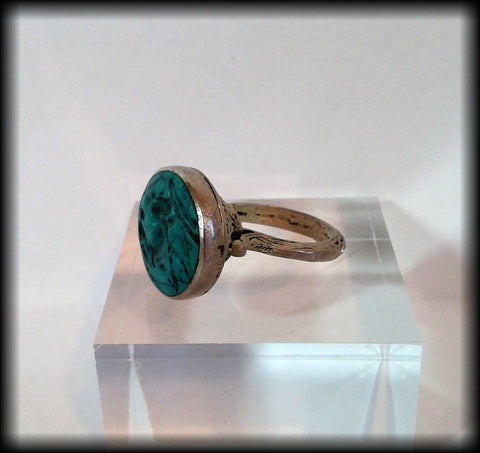 Antique Chunky Near Eastern Carved Turquoise Tughra Antelope Intaglio Seal Ring - Preloved Jewels