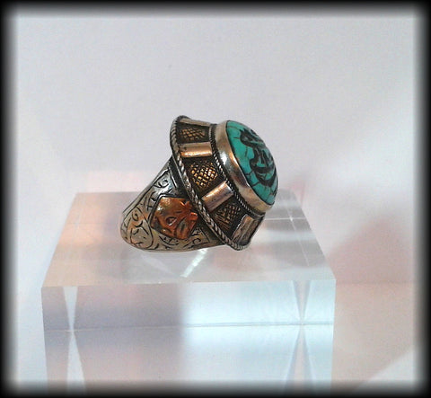 Antique Chunky Near Eastern Carved Turquoise Tughra Kirfic Script Intaglio Seal Ring - Preloved Jewels