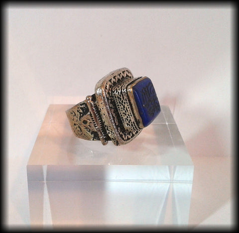 Antique Chunky Near Eastern Carved Lapis Lazuli Tughra Kirfic Script Intaglio Seal Ring - Preloved Jewels