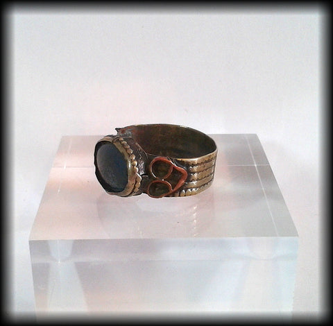 Antique Near Eastern Ring with Blue Glass Cabochon - Preloved Jewels