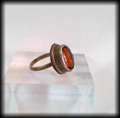 Antique Near Eastern Ring with Amber Glass Cabochon - Preloved Jewels