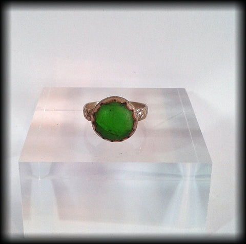 Antique Near Eastern Ring with Green Glass Stone - Preloved Jewels