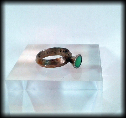 Antique Near Eastern Ring with Green Stone - Preloved Jewels