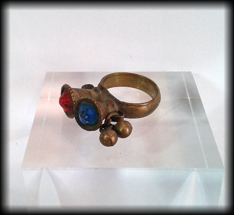 Antique Unusual Near Eastern Ring with Red and Blue Gemstones - Preloved Jewels