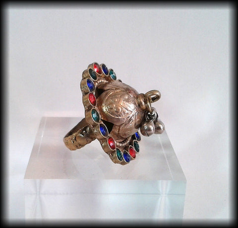 Antique Unusual Near Eastern Large Chunky Ring with Multi-Coloured Gemstones - Preloved Jewels