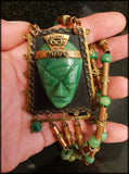 Antique Art Deco Mexican Carved Green Agate Face Big and Chunky Beaded Necklace - Preloved Jewels