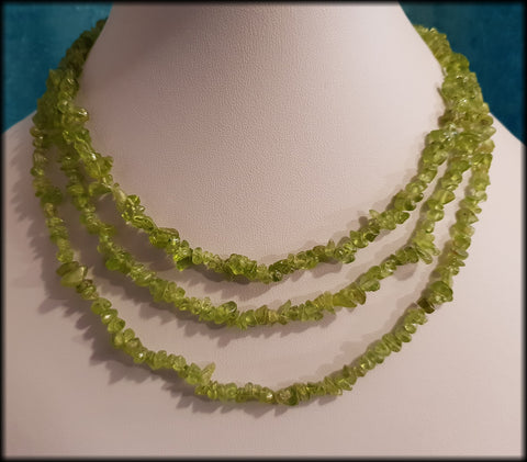 925 Sterling Silver and Polished Peridot Chunky Beaded Necklace From TJC - Preloved Jewels