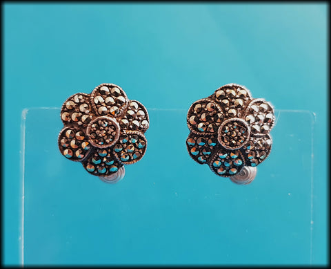 Vintage Solid Silver and Marcasite Studded Flower Clip-On Earrings - Preloved Jewels
