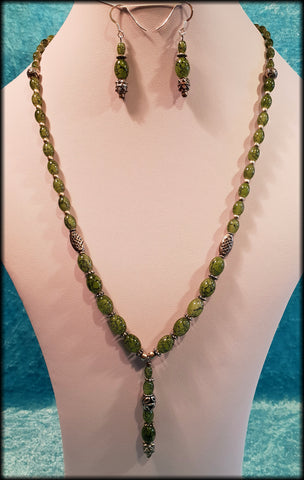 Vintage 925 Sterling Silver and Green Glass Long Beaded Indian Style Necklace & Earrings Set - Preloved Jewels
