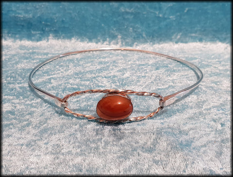 Vintage 925 Solid Sterling Silver and Agate Cabochon Torque Necklace - Preloved Jewels