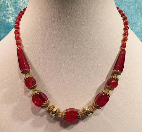 Vintage Original Art Deco Czech Moulded Cranberry Glass and Mercury Glass Bead Necklace - Signed - Preloved Jewels