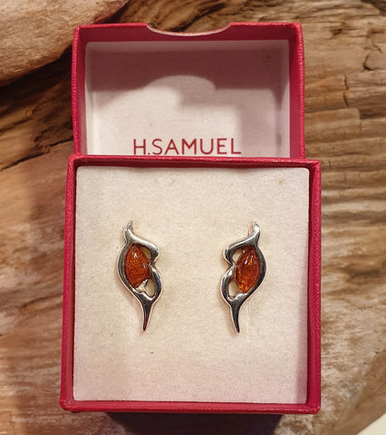 Vintage 925 Solid Sterling Silver and Baltic Amber Cabochon Stud Earrings with Box - Preloved Jewels
