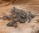 Vintage 1940's Large and Chunky Solid Silver Marcasite Studded Flower Brooch - Preloved Jewels