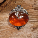 Vintage 925 Solid Sterling Silver Large Baltic Amber Cabochon Brooch - Preloved Jewels