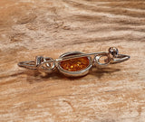 Vintage 925 Solid Sterling Silver Baltic Amber Cabochon Bar Brooch - Preloved Jewels