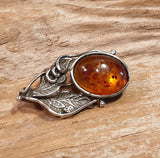 Vintage 925 Solid Sterling Silver Baltic Amber Cabochon Brooch - Preloved Jewels