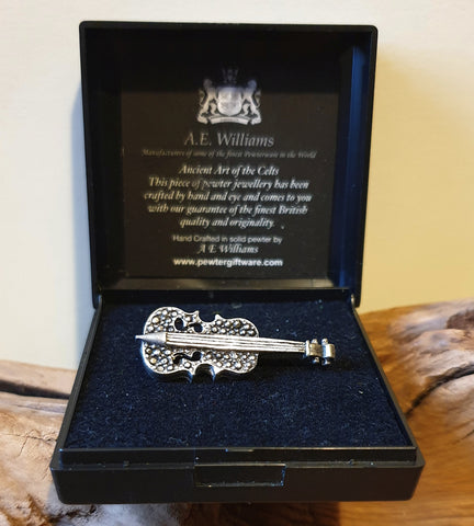 Vintage A.E. Williams Pewter Violin Brooch with Box - Preloved Jewels